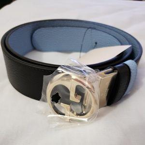 GUCCI Reversible Calf Belt  110/42/16, Blk/Lt Blue